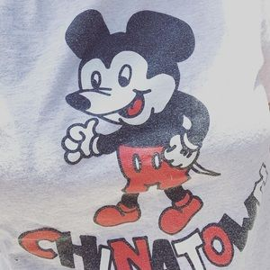 Tops - China town market faux Mickey Mouse grey t shirt